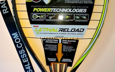 E-FORCE NXT GEN & RELOAD LETHAL RACQUETBALL RACQUETS,also Bedlam Stun 160 IN STOCK